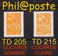 INCONNU: 0.01 € LAMOUCHE TD205 COCARDE FONCEE + TD215 COCARDE CLAIRE - MAURY 3954 ? (NON REPERTORIE!!!) - 2004-08 Marianne De Lamouche