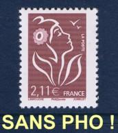 MARIANNE DE LAMOUCHE 2 € 11 N** SANS PHOSPHORE TOTAL - YVERT 3972a / CERES 3966a - 2004-08 Marianne De Lamouche