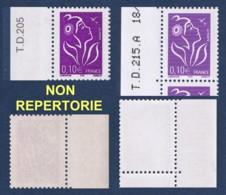 TYPES NON REPERTORIES :  0.10 € Lamouche ITVF TD 205 Type I PAPIER JAUNATRE + 0.10 € Lamouche TD215A MAUVE - CERES 3714 - 2004-08 Marianne De Lamouche