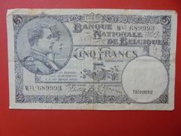 BELGIQUE 5 FRANCS 11-4-38 CIRCULER (B.5) - [ 2] 1831-... : Regno Del Belgio
