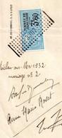 Certificat De Non Opposition à Mariage, Bois Colombes, 92, Timbre De Dimension Bleu, Oblitéré Rectangle Pointillé, 3307 - Non Classés