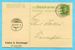 Postkarte St. Gallen Mit Zudruck Fröhlich & Sturzenegger 1908 - Interi Postali