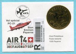 R-Brief Payerne - Vol Spécial PC-21 2014 Mit Vollstempel Auf Goldvrenelimarke - Autres Documents