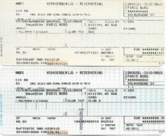 Billet + Réservation - Thalys Bruxelles-Zuid - Paris-Nord - Lot De 2 Billets - Chemin De Fer