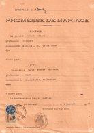 3 Promesses De Mariage, Commune De Berrien, Trace De Punaise Aux Angles, Timbre Fiscal Bleu 10 Francs - Fiscaux