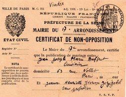 Ville De Paris, Certificat De Non Opposition 1946 - Fiscales