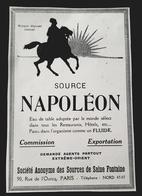 SOURCE NAPOLEON EAU DE TABLE SOURCE DE SAINTE FONTAINE PUBLICITE 1926 ADVERTISING EAUX MINERALE SPRING WATER - Publicités