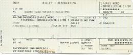 Billet + Réservation - Thalys Paris-Nord - Bruxelles-Midi  Lot De 3 Tickets - Chemin De Fer