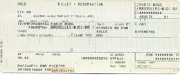 Billet + Réservation - Thalys Paris-Nord - Bruxelles-Midi - Chemin De Fer