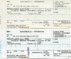 Billet + Réservation - Thalys Paris-Nord - Bruxelles-Zuid - Lot De 2 Tickets - Chemin De Fer