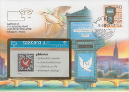 SUISSE - PHONE CARD * RARE *** TÉLÉCARTE & TIMBRE - BASLER TAUBE *** - Schweiz