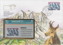 SUISSE - PHONE CARD * RARE *** TÉLÉCARTE & TIMBRE - PIZ PALÜ *** - Schweiz