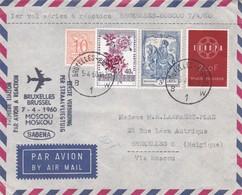 Aérograme 1er Vol Aérien à Réaction Bruxelles Moscou 7/4/1960 - Poste Aérienne