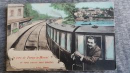 CPA JE PARS DE PARAY LE MONIAL ET VOUS ENVOIE MES AMITIES 71 TRAIN LOCOMOTIVE MONTAGE VUE 1908 - Paray Le Monial