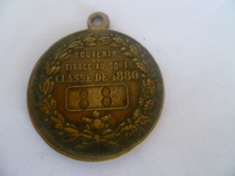 """Rare Jeton : Souvenir D'un Tirage Au Sort Classe Du 1880 """"88"""" République Française - France"""