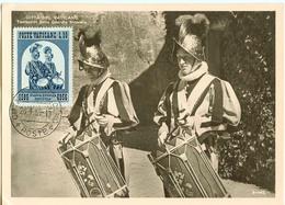 Vatikan MK : 450 Jahre Schweizergarde, Ausgabe 27.4.1956 , Gestempelt  26.1.1959 - Cartes-Maximum (CM)