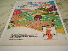 ANCIENNE PUBLICITE MELANGE LEGER CIGARETTE SCORE 1968 - Tabac (objets Liés)