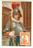 Vatikan MK : 450 Jahre Schweizergarde, Ausgabe 27.4.1956 , Gestempelt  27.4.1956 - Cartes-Maximum (CM)