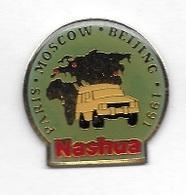 Pin's  Villes, Sport  Automobile  NASHUA, RALLYE, PARIS - MOSCOU - BEIJING - 1991  Voir - Rallye