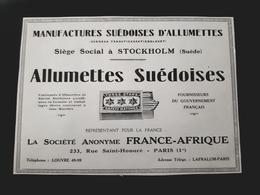 ALLUMETTES SUEDOISES FRANCE AFRIQUE STOCKOLM SVENSKA TANDSTICKSAKTIEBOLAGET PUBLICITE 1926 SAFETY MATCHES SWEDEN SVERIGE - Publicités
