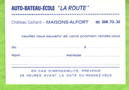 """Auto-Bateau-Ecole  """"La Route""""  Maison Alfort - Visitenkarten"""