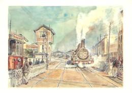 38 - Grenoble - Le Passage à Niveau De La Gare Cours Bérriat Au Début Du Siècle - Art Peinture De Gilbert Boutin - Train - Grenoble