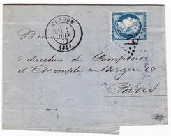Lettre 1873 Gers Condom Daynaud Conche & Cie Caisse D'Escompte Banque Bank Cachet Ambulant Périgueux à Paris - 1871-1875 Cérès