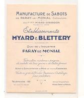 Paray Le Monial - Myard & Blettery -  Manufacture De Sabots - Depliant  -  RARE - CPA° - Paray Le Monial