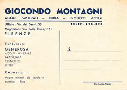 """FIRENZE - PUBBLICITARIA GIOCONDO MONTAGNI - VIA DEI SERVI - BIRRA - ACQUA MINERALE """"GENEROSA"""" - BITTER - CHINOTTO - 1953 - Firenze (Florence)"""