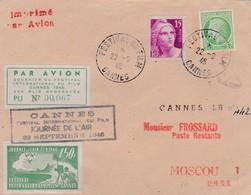Lettre Festival De Cannes Vers Moscou 1946 - Poste Aérienne