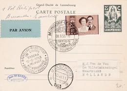 Carte 1er Courrier Luxembourgeois Vers La Belgique 10/801953 Vers La Hollande - Poste Aérienne