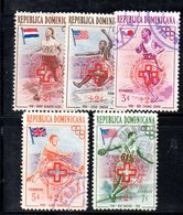 APR2025 - REPUBBLICA DOMINICANA 1957 , Serie Yvert N.  452/456 Usata (2380A)  Melbourne + Rifugiati - Repubblica Domenicana
