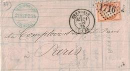 ISERE - GRENOBLE - CERES DU SIEGE - N°38 OBLITERATION GC1716 - ENTETE BANQUE B.CHARPENAY & CIE - AVEC TEXTE ET SIGNATURE - Postmark Collection (Covers)