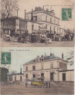 SENS : La Gare P.L.M . Vue Extérieure . 2 CP Dont Une Colorisée . - Sens