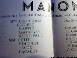 """SAISON 1948/49 """" MANON"""" MUSIQUE DE MASSENET PROGRAMME VILLE DE LYON ORCHESTRE OPÉRA THÉÂTRE C. BOUCOIRAN-PUBS-PHOTOS ART - Programmes"""