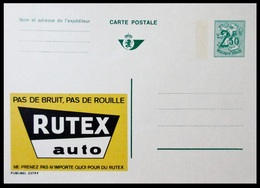 BELGIQUE ENTIER CP PUBLIBEL N° 2379 F. RUTEX AUTO   . NEUF - Stamped Stationery