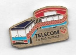 Pin's  SUISSE, P.T.T, TELECOM  Le  Bon  Contact  Avec  BUS - Postes