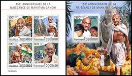 TOGO 2019 - Mahatma Gandhi, M/S + S/S. Official Issue [TG190252] - Mahatma Gandhi