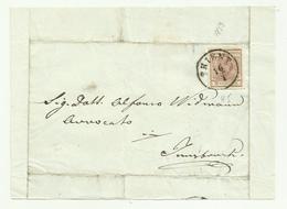 FRANCOBOLLO  DA 6 KREUZER TRIENT 1853 SU FRONTESPIZIO - 1850-1918 Imperium