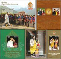 BHOUTAN 6Blocs 1er Ann. Mariage Royal 2012 Neuf ** MNH - Bhutan