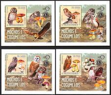 A{041} Sao Tome & Principe 2006 Mushrooms Birds Owls Lions Club Rotary 4 S/S Deluxe MNH** - Sao Tomé Y Príncipe