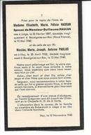 SM Elisabeth Habran Et Son Fils Nicolas Paulus, Bousignies-sur-Roc 15 Mai 1940; Décès Tragique Premiers Jours De Guerre - Images Religieuses