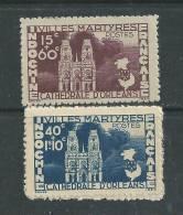 Indochine N° 292 / 93 XX  Villes Françaises Martyres Les 2 Valeurs Sans Charnière Dentelure Habituelle Sinon TB - Indochine (1889-1945)