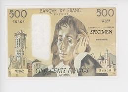 Cinq Cents Francs  - Banque De France (spécimen) Cp Vierge Collection Specimen N°1 - Monnaies (représentations)