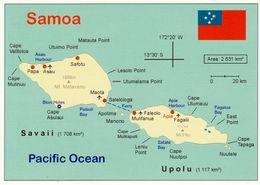 1 Map Of Samoa * 1 Ansichtskarte Mit Der Landkarte Von Samoa - Bis 1997 Offiziell - Auch Westsamoa Genannt * - Landkarten