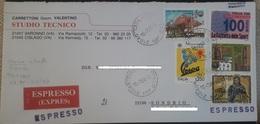 Italia Italy 3750 LIRE IN TARIFFA ESPRESSO 16.7.1996 CISLAGO SONDRIO VESPA GAZZETTA CELESTINO NON COMUNE - 6. 1946-.. Republic