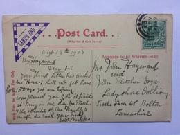 GB Edward VII `Lands End` Triangular Cachet On Postcard 1903 - Lettres & Documents