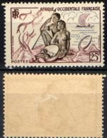 AFRICA OCCIDENTALE FRANCESE - 1954 - Couple Feeding Antelopes - MH - A.O.F. (1934-1959)