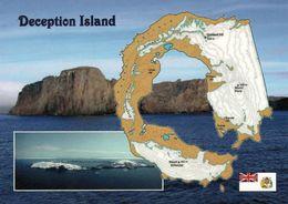 1 MAP Of Deception Island Zu Den South Shetland Islands * AK Mit Der Landkarte Dieser Subantarktische Insel * - Landkarten
