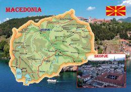 1 Map Of Macedonia * 1 Ansichtskarte Mit Der Landkarte Von Mazedonien - Im Kleinen Bild Die Hauptstadt Skopje * - Landkarten